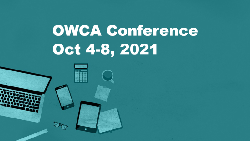 laptop and notebooks. Text: OWCA Conference October 4-8
